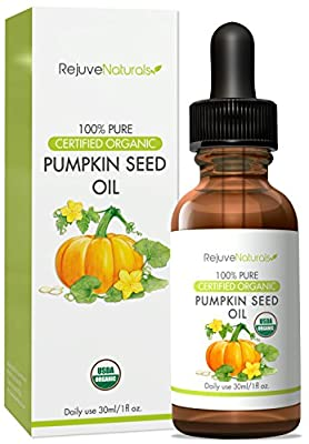 Organic Cold Pressed Pumpkin Seed Oil, 1 oz. - Certified by USDA & ECOCERT - Natural Moisturizer, Supports Healthy Skin and Hair Growth - With Omega 3 & 6 Fatty Acids and Vitamins A, B, D, & E