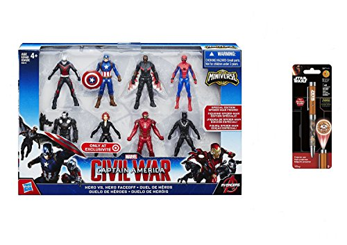 Super Hero Captain America Civil War 2.5 Inch Figure Multipack & Free Star Wars Projector Pen, Colors may vary Toys