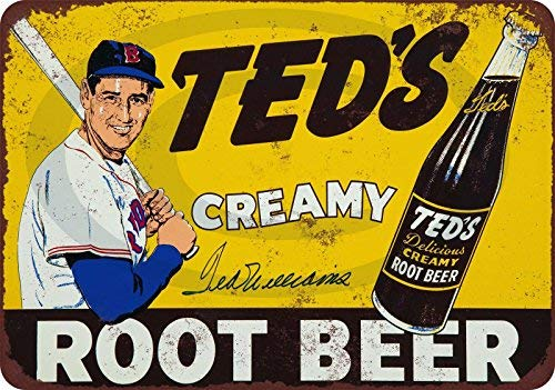 Beer Root Tin Teds Creamy - HarrodxBOX Ted Williams for Ted's Root Beer Creamy Reproduction Novelty Aluminum Metal Tin Sign Post Wall Decoration for Men 12 x 18