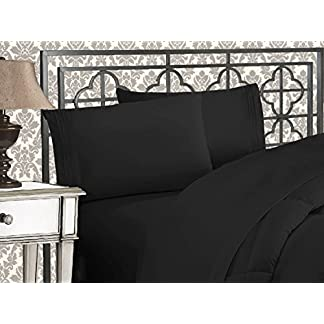 Elegant-Comfort-Luxurious-Softest-1500-Thread-Count-Egyptian-Three-Line-Embroidered-Softest-Premium-Hotel-Quality-3-Piece-Bed-Sheet-Set-Wrinkle-and-Fade-Resistant-TwinTwin-XL-Black