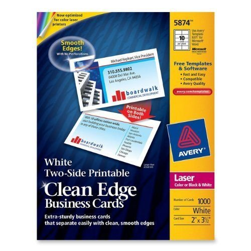 AVERY-DENNISON - CARD,BUS,2SIDE,CE,1000WHT by Avery Dennison