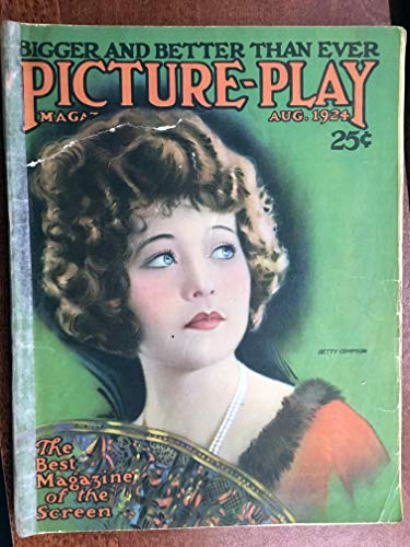 PICTURE PLAY magazine with BETTY COMPSON on cover, excellent condition, acid-free tape on binderarticles on Pola Negri, full page photo GLORIA SWANSON (terrific!), full page sepia photos of Rudolph Valentino, Alice Terry, Agnes Ayres, Bessie Love, Clara Bow, Lois Wilson, articles on Nazimova, many other stars of the day, great advertisements. almost 100 years old! Very nice issue, rare.