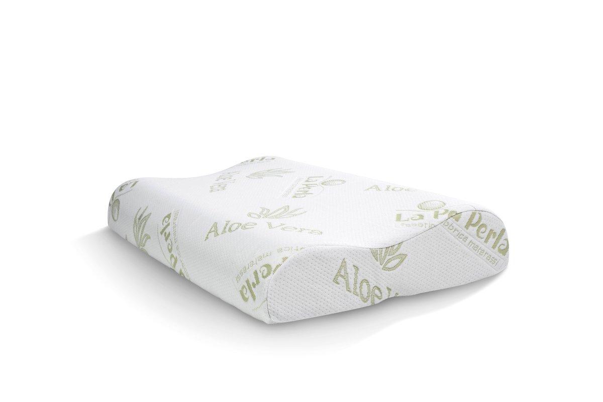 La Perla fábrica colchones - Cojín de Memory indeformabile, tamaño 70 x 40 x 12, modelo cervical, funda extraíble y lavable de Aloe Vera: Amazon.es: Hogar