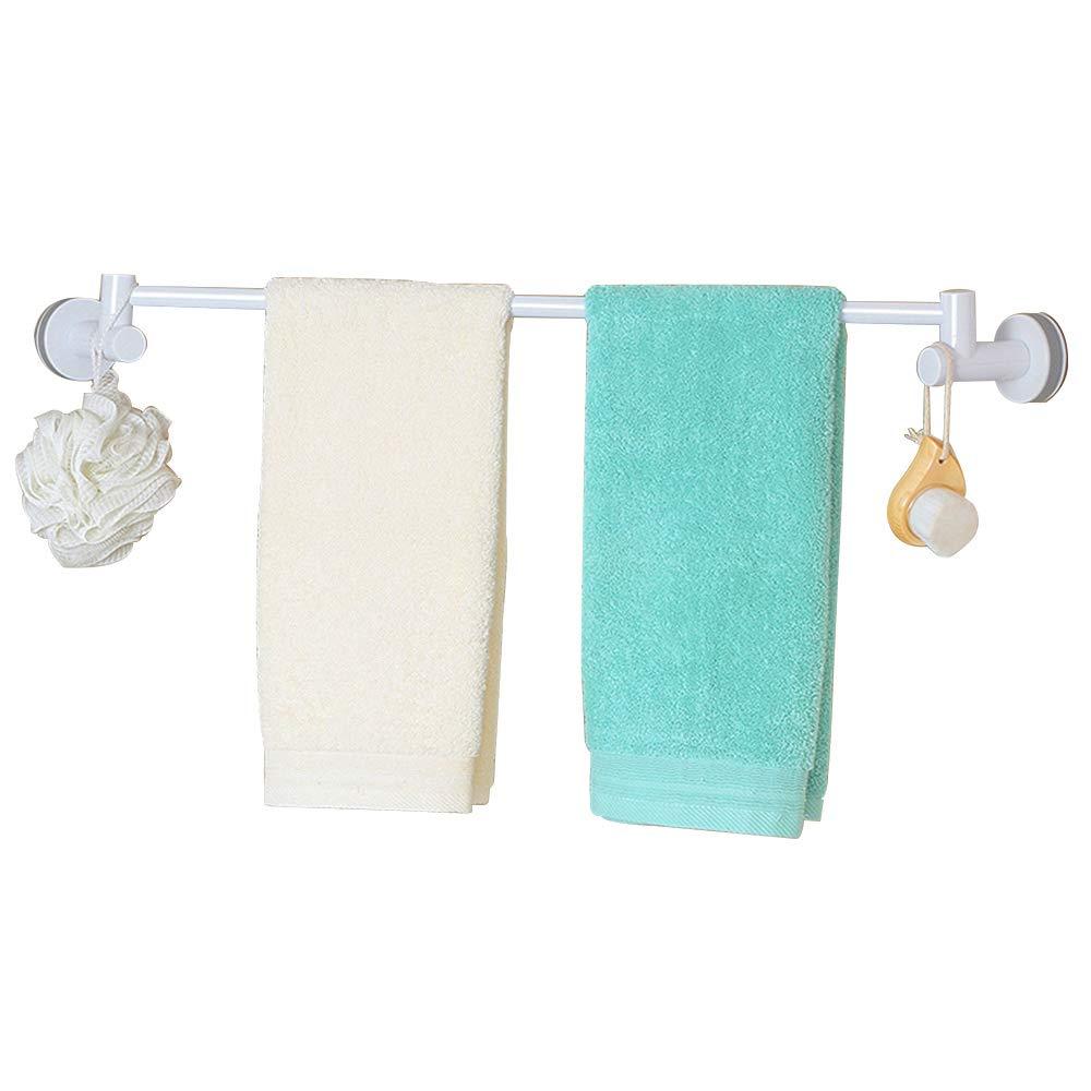 HOOMTAOOK Bathroom Towel Bar Holder Rack Super Power Vacuum Suction No Drilling Waterproof Removable Reusable Shower Single Towel Hanger for Kitchen