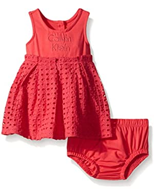 Baby Girls' Jersey Spandex Dress with Eyelet Piecing and Panty