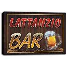 scw3-021533 LATTANZIO Name Home Bar Pub Beer Mugs Stretched Canvas Print Sign