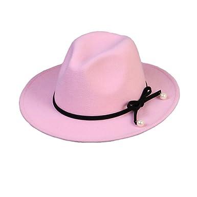 Women Girls Fashion Autumn Winter Bowknot Pearl Jazz Hat Trilby Hat Pink 415ed92500b1