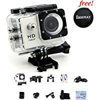 Sports Action Camera IAMWAY Ultra HD 30 Meter 1080P Waterproof DV Camcorde 2.0 inch LCD Screen Sport DV Giveaway Free Of Portable Travel Case For Earpieces,USB cables,Chargers, Coins etc.(White 1080P)