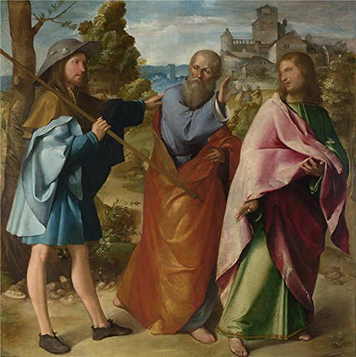 The Polyster Canvas Of Oil Painting 'Altobello Melone The Road To Emmaus ' ,size: 24 X 24 Inch / 61 X 61 Cm ,this Beautiful Art Decorative Canvas Prints Is Fit For Bedroom Artwork And Home Artwork And Gifts