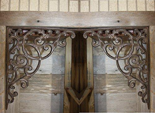 Elegant Farmhouse Entrance Way Corner Shelf Brackets Solid Cast Iron, 13'', Set of 2 by Cast Iron Home Decor Collectibles (Image #6)