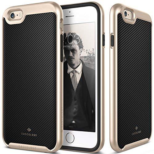 (iPhone 6S Case, Caseology [Envoy Series] Premium Leather Bumper Cover [Carbon Fiber Black] [Leather Bound] for Apple iPhone 6S (2015) & iPhone 6 (2014) - Carbon Fiber Black)