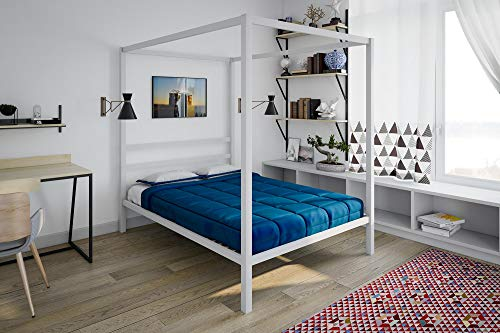 Poster Full Bedroom Bed - DHP Modern Metal Canopy Bed, Full, White