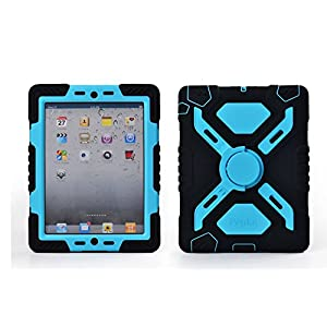 Pepkoo Ipad 2/3/4 Case Plastic Kid Proof Extreme Duty Dual Protective Back Cover with Kickstand and Sticker for Ipad 4/3/2 - Rainproof Sandproof Dust-proof Shockproof (Black/blue)
