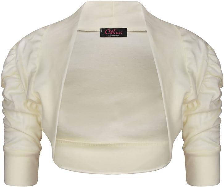 New Girls Ruched Sleeve Cardigan 100/% Cotton Plain Bolero Shrug Age 2-13 yrs