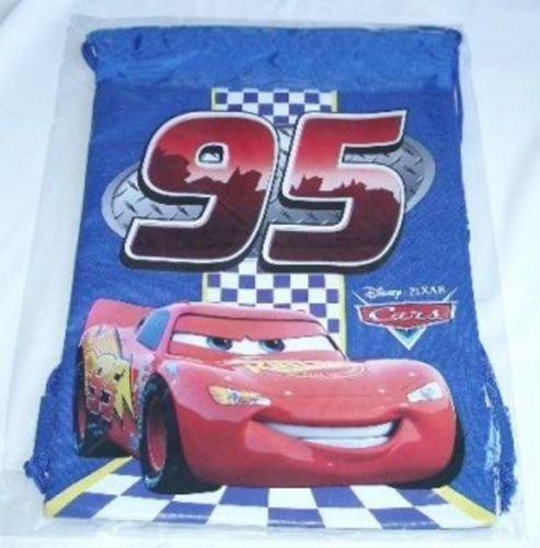 Blue Disney Pixar Cars Backpack Licensed Drawstring Sling Tote Child Gym Bag-show original title from Disney