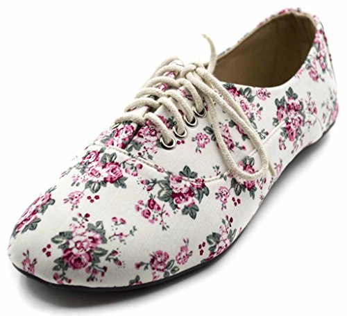 Charles Albert Womens Jersey Lace Up Oxford Sneaker Flats White Multi AqgFn