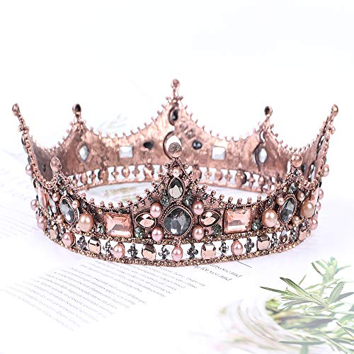 Vinsco Baroque Crown Vintage Round Full Size Tiara Luxury Retro Headband Crystal Rhinestone Beads Hair Jewelry Decor for Queen Women Ladies Girls Bridal Bride Princess Birthday Wedding Pageant Party -