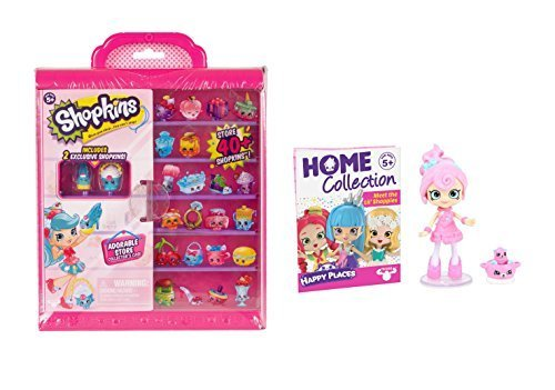 Shopkins Happy Places Adorable Store Collectors Case Window Display with Two Exclusive Shopkins AND Candy Sweets Lil' Shoppie Doll (Box Window Display)