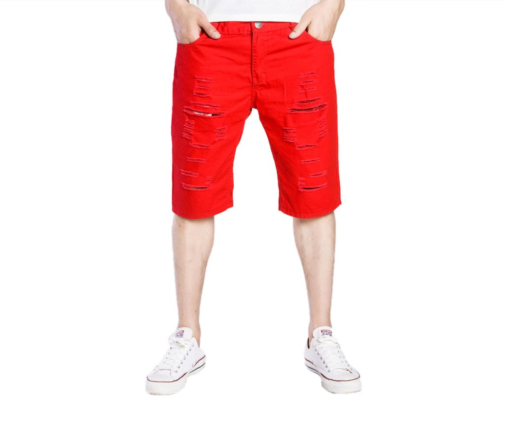 WSLCN Mens Ripped Denim Shorts Jean with Shredded Holes Rolled Cuff AW-F049