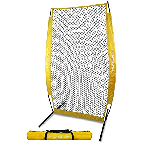 PowerNet I-Screen with Frame and Carry Bag (Yellow) | Portable Baseball Pitcher Protection at Batting Practice | Instant Player and Coach Protector from Line Drives Grounders | Heavy Duty Netting