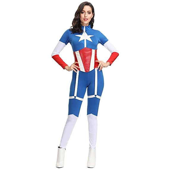 JXJ Disfraz De Capitán América para Mujer Halloween - Lycra ...