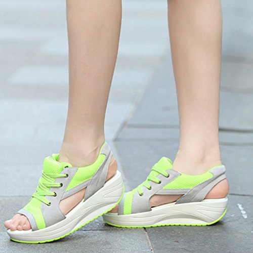 Platform Sandali Peep Women La Up Mesh Lace Vogue Toe Running Trainers Verde 0X5X8q