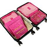 6 Set Travel Storage Bags Yeeth Durable Multi-functional Clothing Sorting Packages,Travel Packing Pouches,Luggage Organizer Pouch,High Capacity Luggage Clothes Tidy Organizer Pouch Suitcase Rose Red