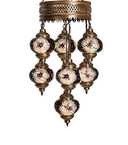 Art Deco Hanging ((Choose from 12 Designs) Turkish Moroccan Mosaic Glass Chandelier Lights Hanging Ceiling Lamps (5 Globes 7