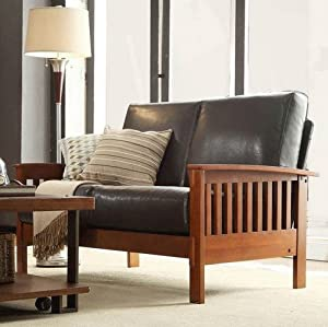 Tribecca Home Hills Collection Bi Cast Leather And Brown Oak Wood Loveseat Mission