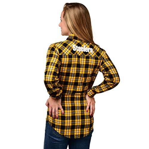 Forever Collectibles Damen 2016 Wordmark Basic Flannel, Pittsburgh Steelers, mittel
