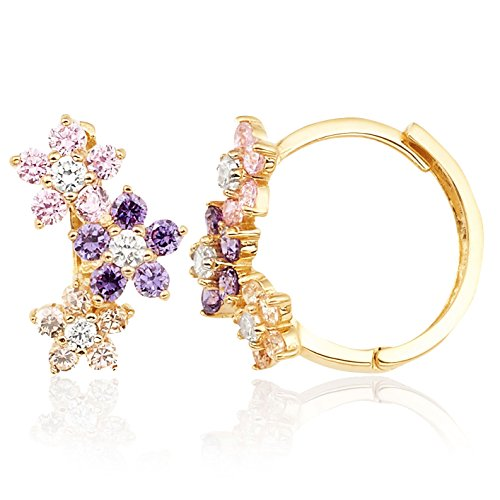 Yellow Gold Flower Earrings - Pink Violet and White CZ Flower Huggie Hoop Earrings in 14K Yellow Gold