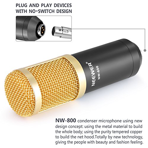 Neewer NW-800 Professional Studio Broadcasting & Recording Microphone Set Including (1)NW-800 Professional Condenser Microphone + (1)Microphone Shock Mount + (1)Ball-type Anti-wind Foam Cap + (1)Microphone Power Cable (Black) - Image 4