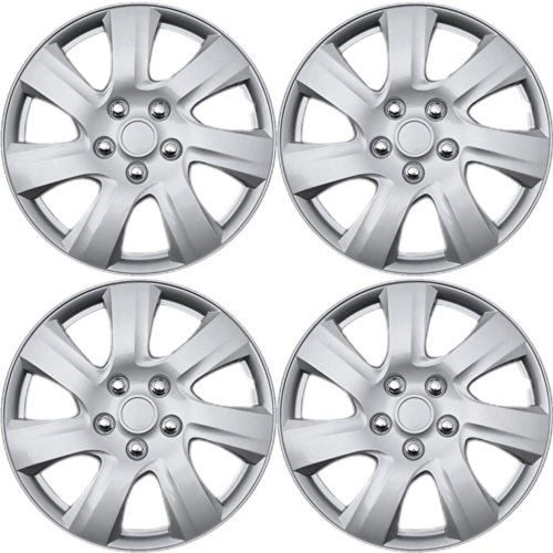 15 Spoke Silver Wheel - OxGord Hubcaps for Toyota Camry (Pack of 4) Wheel Covers - 15 inch, 7 Spoke, Snap On, Silver