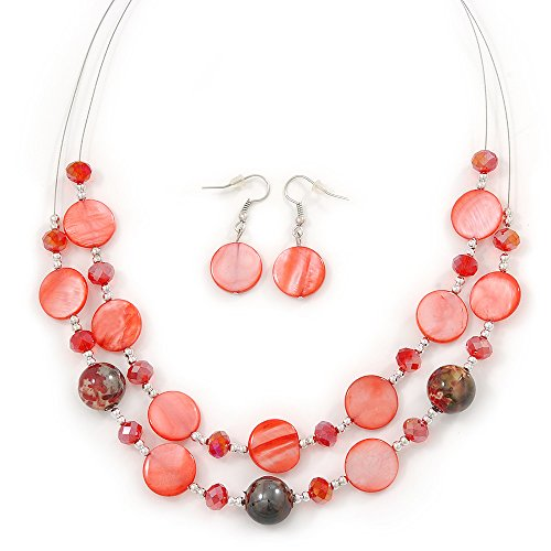 Red Shell & Crystal Floating Bead Necklace & Drop Earring Set - 46cm Length/ 4cm extension - Shell Beads Necklace Earrings