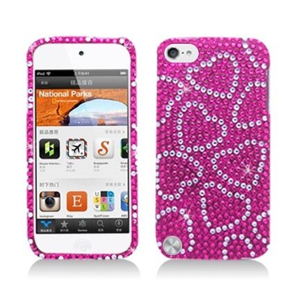 LF Heart Rhinestone Hard Case Protector Cover, Lf Stylus Pen and Lf Screen Wiper Bundle Accessory for Apple Ipod Touch 5