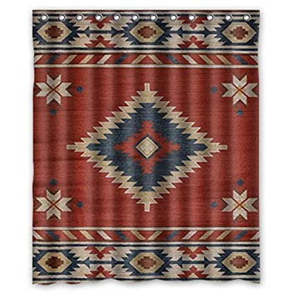 Southwest Native American Shower Curtain 60Wx72H Inch With 12 Holes To Which Rings Attach Amazoncouk Kitchen Home