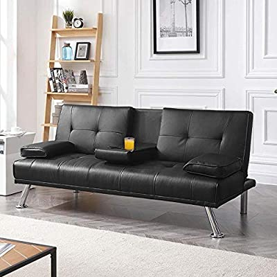 Yaheetech Futon Sofa Bed, Convertible Sofa Couch with Armrest Home Recliner Couch Home Furniture Black