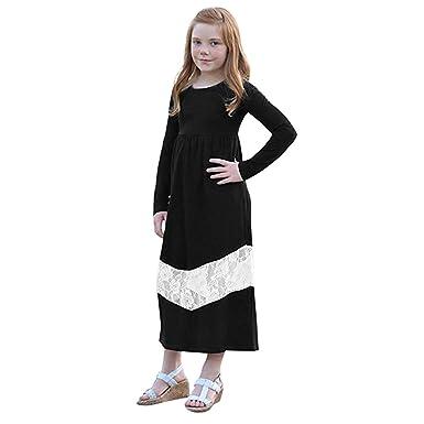 729fa9c12ad73 beautyjourney Vestido de Costura de Encaje de Manga Larga para mamá y bebé  Niña Vestido de Fiesta Largo Cuello Redondo Ropa Informal para Padres e  Hijos  ...