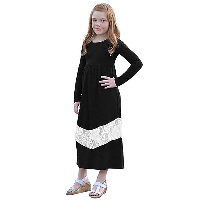 beautyjourney Vestido de Costura de Encaje de Manga Larga para mamá y bebé Niña Vestido de