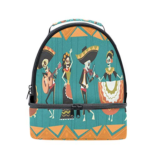 ALAZA Day Of Dead Traditional Mexican Halloween Portable Shoulder Double Lunch Box Bag,Sugar Skull Insulated Lunch Tote Outdoors Bag for School Office Women Men Boys -