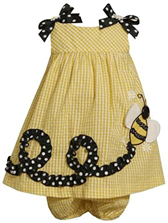 Bonnie Baby Baby Girls' Bumble Bee Applique Seersucker Dress, Yellow, 24 Months