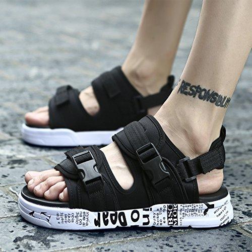 Xing Lin Sandalias De Hombre Nuevo Y Elegante Sandalias Abiertas Las Sandalias De Playa Niño Zapatos De Suela Gruesa Sandalias Y Zapatillas Verano Black and white