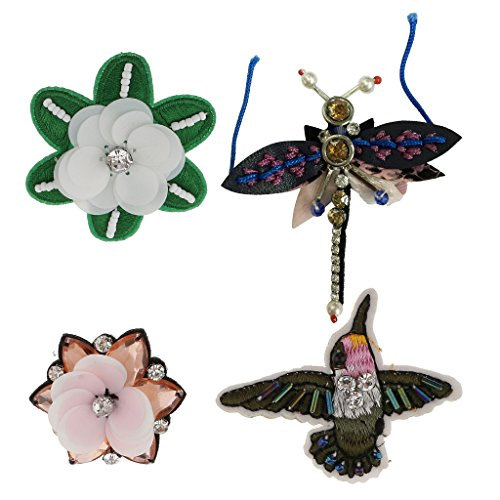 Jili Online 4 Pieces/Set Dragonfly Flower Sequins Rhinestones Beads Brooch Appliques Patches for Clothing Decoration (Sequin Flowers Brooch)