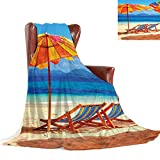 SATVSHOP Flannel Soft Lightweight Microfiber Breathable Comfy Throw Blanket-50 x30-Bed Blanket.Seaside Deck Chairs