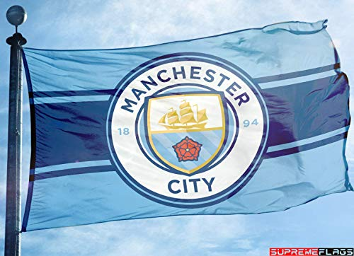 (Manchester City Flag Banner 3x5 England Premier Football Soccer New Horizontal)