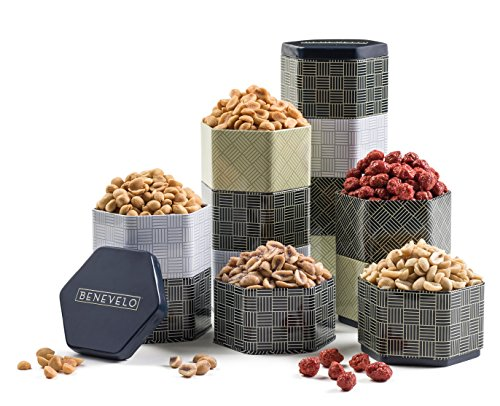 Benevelo Gifts Gourmet Peanut Assortment in 5-Tier Tin Tower incl. Bacon Ranch, Black Pepper, Sugar Roasted, Sriracha & Salted Flavors - Nutritious & Delicious Gift Idea - In Gorgeous Reusable Tin