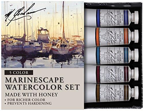 M. Graham Tube Watercolor Paint Marinescape 5-Color Set, 1/2-Ounce (Tubes Watercolor Graham)