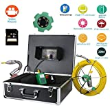 """20M IP68 Waterproof Drain Pipe Sewer Inspection Camera System 7"""" LCD DVR 1000TVL Camera with 6W LED Lights 8GB SD Card,20M"""