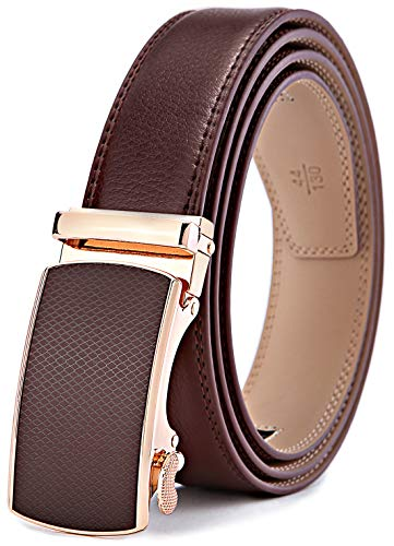 Men's Belt,Bulliant Slide Ratchet Belt for Men Genuine Leather, Trim to Fit (Dress Belt Mens Gold)