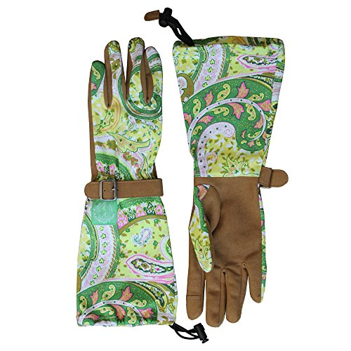 Green Paisley Elbow Length Garden Gloves
